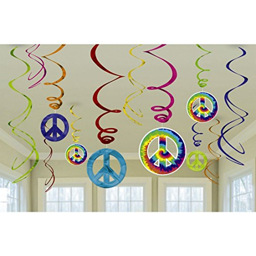 12 Stk. Party Spiralen Deko Girlanden 70er Jahre 60`s Hängedeko Peace Deckenhänger Hippie (70er Hippie Jahre)