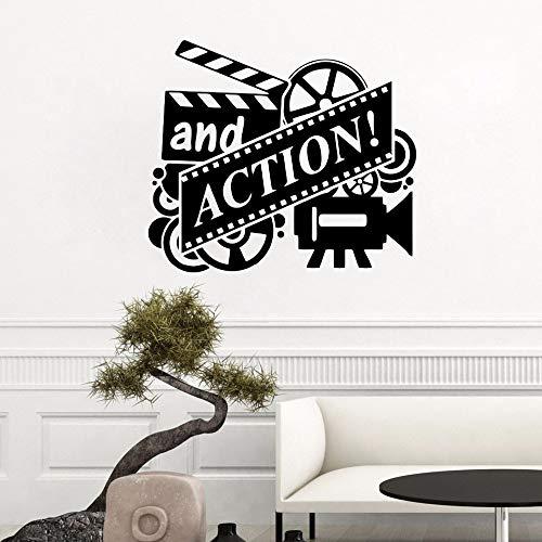 Action Movie Wall Decal Film Reel Cinema Wandaufkleber Home Cinema Theatre Decor Abnehmbare Vinyl Film Action Wandbild 57 * 72 cm