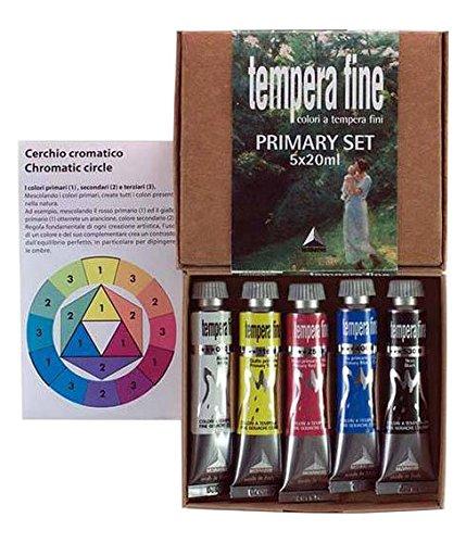 Industria Maimeri 2598049 - Colori a Tempera, Set 5 Tubetti, Da 20 Ml, Colori Primari