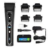KYG Haarschneider mit LCD Power Anzeige Profi Haarschneidemaschine Set für Akku- und Netzbetrieb mit beide 2000mAh Akku Haarschneider, A6S Schwarz