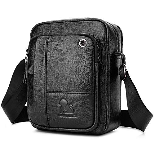 BAIGIO Bolso Bandolera Hombre de Cuero Bolso de Hombro Piel Pequeño Vintage Crossbody Bag Casual Negro...