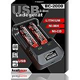 BC-2000 USB Akku Ladegerät für 18650 | 26650 | 14500 | 16340 | CR123 | 3,7V Lithium und Mignon AA | Micro AAA NIMH Akkus - Ideal zum aufladen von Sony oder kraftmax 18650 Pro Akkus - Neueste Version mit Li-Ion Smart Charging
