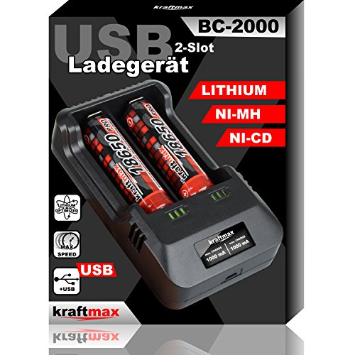 BC-2000 USB Akku Ladegerät für 18650 | 26650 | 14500 | 16340 | CR123 | 3,7V Lithium und Mignon AA | Micro AAA NIMH Akkus - NEUSTE VERSION
