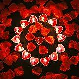 Tatuo 50 Stück Herzform Kerzen Romantische Teelicht Kerzen und 200 Stück Seide Rosenblüten Künstliche Blütenblätter für Valentinstag Festival Hochzeit Geburtstagsparty