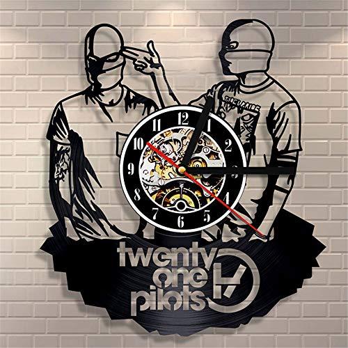 upnanren Orologio da Polso in Vinile 3D n. 21 Pilot Band Vinile Moderno Home Decor Black Art Orologio da Parete