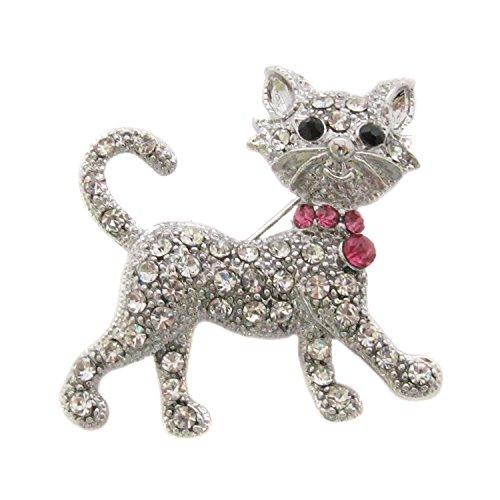 Brooch Boutique Broche de gato de plata y diamantes