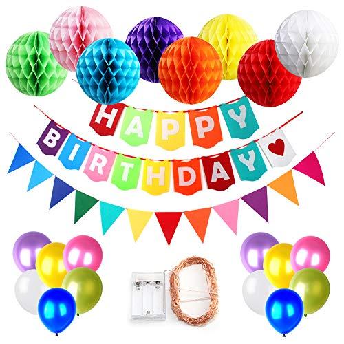 Geburtstags Party Dekoration für Kinder (mit LED Streifen Licht), Happy Birthday Banner und 8pcs Bunte Seidenpapier Pompons Wabenbälle, 30pcs Party Ballons und 1pc Rainbow Dreieck Papier Girlanden