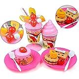 Vococal - 73 piezas DIY Cortar cumpleaños torta frutas Alimentos jugar Juguetes de comida juego Set para niños bebés,Rosa