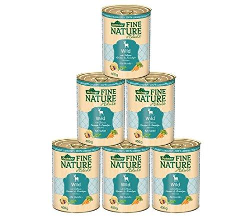 Dehner Fine Nature Hundefutter Adult, Lebensmittelqualität, Wild, 6 x 400 g (2400 g)