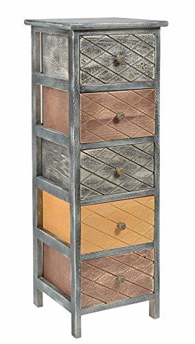 ts-ideen Kommode Schrank shabby schwarz Nachttisch 5 Schubladen braun beige Schlafzimmer Wohnzimmer Kinderzimmer Badezimmer oder Büro