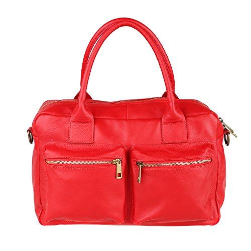 Borsa a Mano da Donna con Tracolla in Vera Pelle Made in Italy Chicca Borse 36x26x15 Cm Rosso