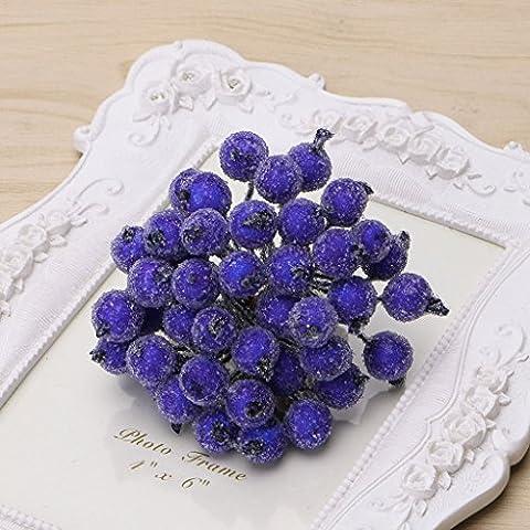 Loegrie 40pcs Mini en mousse de Noël Givré Fruits Artificielles houx Fleur Home Decor, Bleu foncé
