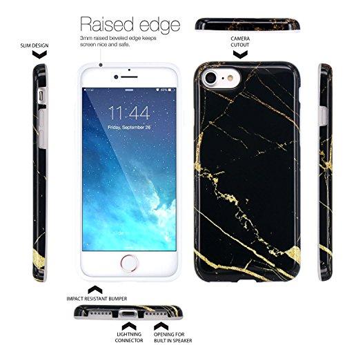 iPhone 7 Hülle, LOVONKI Himmel Blau Marmor Serie Flexible TPU Silikon Schutz Handy Hülle Handytasche HandyHülle Etui Schale Case Cover Tasche Schutzhülle für iPhone 7 Schwarz Gold