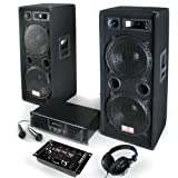 Pack Sonorisation DJ PA Complet / Kit pour soirées disco - Ensemble de 16 pièces : Enceintes 3 voies, Ampli , table de mixage 2/3 canaux, micros, casque Hifi et tous les câbles nécessaires : 2000w de puissance