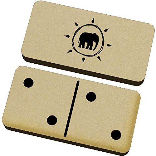 Azeeda 'Logotipo del Elefante' Domino Juego y Caja (DM00009061)