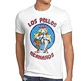 style3 Los Pollos T-Shirt Homme, Taille:M;Couleur:Blanc