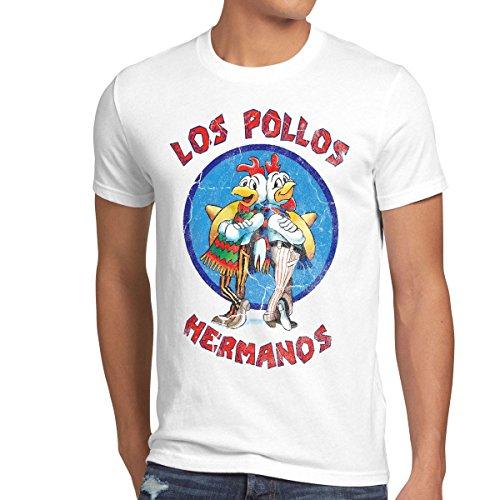 style3 Los Pollos T-Shirt Herren, Größe:XXL, Farbe:Weiß