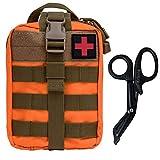 KrisVie Pochette EMT Médecine Tactique Sac étanche Molle de Premiers Secours, Trousse Kit de Premiers Soins Militaires pour Randonnée Camping Airsoft avec Un Ciseaux médical (Orange1)