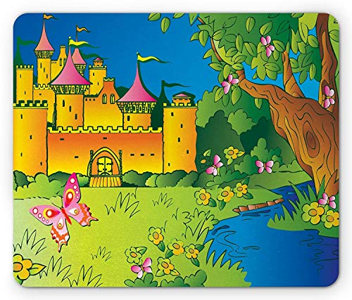 Drempad Gaming Mauspads, Castle Mouse Pad, Castle on The Hill Cartoon with a River and Trees Childish Cartoon Design Medieval, Rectangle Non-Slip Rubber Mousepad, Multicolor 9.8 X 11.8 INCH (Medieval Playstation 2)