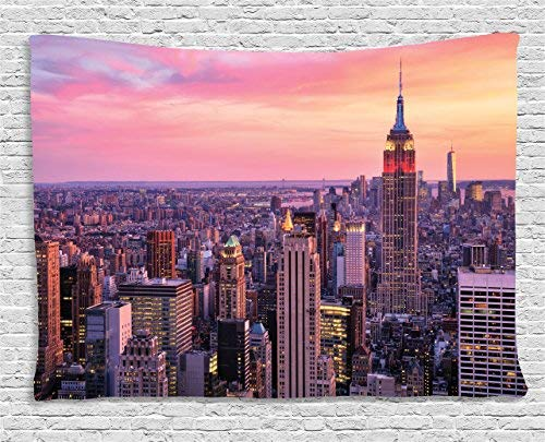 prz0vprz0v New York Tapestry Wall Hanging, New York City Midtown with Empire State Building at Sunset Business Center Rooftop Photo, Bedroom Living Room Dorm Decor, 60 W X 40 L Inches, Peach