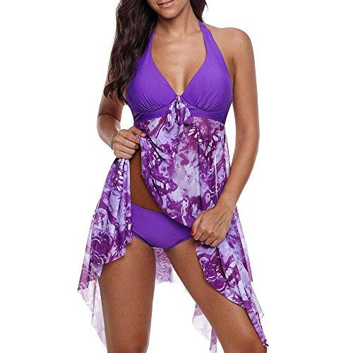 FRAUIT Damen Übergröße Bikinis Tankini Swim Kleid Elegante Badeanzug mit Röckchen Schwimmkleid Beachwear gepolsterte Bademode Frauen Plus Size Beachwear Badeanzüge Bikini Set Badekleid (Low-kleider High-und Für Mädchen)