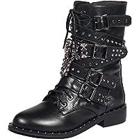 ELEHOT Donna Ebohot senza tacco 3CM Leather Stivali