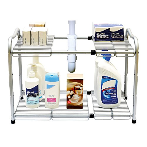 Taylor & Brown® 2pisos debajo del fregadero estante de almacenamiento organizador expandible cocina organizador con 7metal extraíble paneles