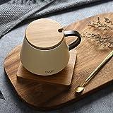 Rentzu Los Amantes Del Café Taza Taza De Cerámica Con Tapa Spoon Cubrir Cup Home Office,Amarillo ( Cuchara De Madera Madera Alimentación Pad)