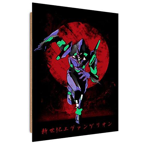 Feeby. Wandbilder - 1 Teilig- 40x60 cm - Bilder Kunstdrucke Deko Panel, Red Sun Eva - DDJVigo, ANIME, ROT (Neon Papier Platten)
