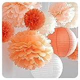 Seidenpapier Pompoms, 12er Set Papierblumen, Papier Pompons Blumen Weihnachtsdeko Christmas INNEN und AUSSE Dekoration Tissue für Hochzeit Baby shower Partei Feier Zeremonie(4*10 '/4*12' /4*14 ' )