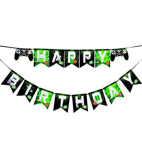 tstag Dekorationen - Video Game Partyzubehör Alles Gute zum Geburtstag Banner Ammer Girlande für Jungen Kinder Spieler Geeks Gaming Thema Party Dekorationen Gebaut ()