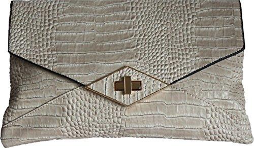 H&G Mesdames Designer embrayage  soir  sac ˆ bandoulire par DL accessoires Ð Paris Beige_