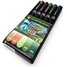 Set de 5 rotuladores marcadores permanentes con base de alcohol Chameleon Blendable Color Tones Nature Tones