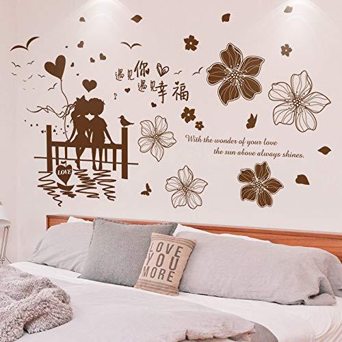 Parejas Románticas Etiqueta De La Pared Pvc Material Diy Flores Tatuajes De Pared Para Sala De Estar Dormitorio Matrimonio Decoración De La Habitación 776