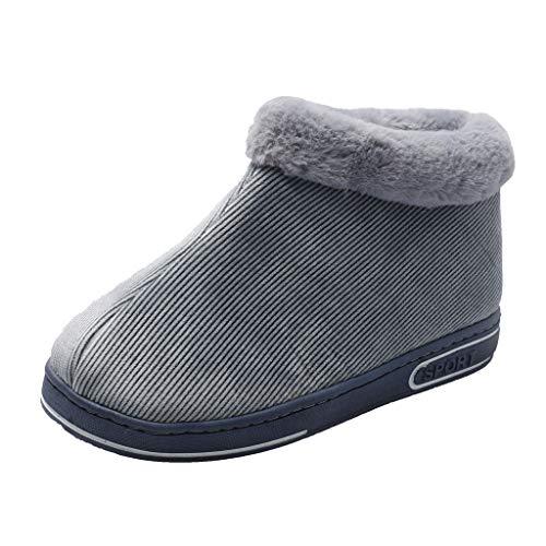 HDUFGJ Hausschuhe Herren warme Pantoffeln Plus Samt Warm rutschfeste Slippers Slippers Home Pantoffeln Bequem Wärme Halten House Schuhe39 EU(Grau)