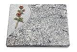 Generic Grabtafel, Grabplatte, Grabstein, Grabkissen, Urnengrabstein, Liegegrabstein Modell Folio 40 x 30 x 3-4 cm Viskont-White-Granit, Poliert inkl. Gravur (Bronze-Color-Ornament Rose 6)
