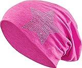 Jersey Baumwolle elastisches Long Slouch Beanie Unisex Herren Damen mit Strass Stern Steinen Mütze Heather in 35 (2) (Pink-Blue)