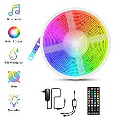 RGB LED Strips 5m, Fansteck SMD 5050 LED Streifen mit Timer, Sync mit Musik, Dimmbare Lichterkette mit Fernbedienung, IP65 Wasserdicht LED Lichtband Selbstklebende Lichtleiste für Aussenbereiche, 12V