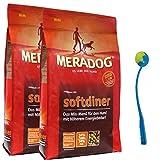 MERA Dog 2 x 12,5 kg Softdiner Hundefutter für erwachsene Hunde + Ballschleuder