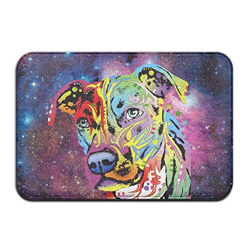 Soft Non-Slip Neon Pitbull Colorful Dog Face Bath Mat Coral Rug Door Mat Entrance Rug Floor Mats for Front Outside Doors Entry Carpet 40 X 60 cm. -