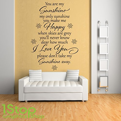1Stop Graphics Shop   YOU ARE MY SUNSHINE WALL STICKER QUOTE   BEDROOM HOME WALL  ART DECAL X230   Colour: Black   Size: Large