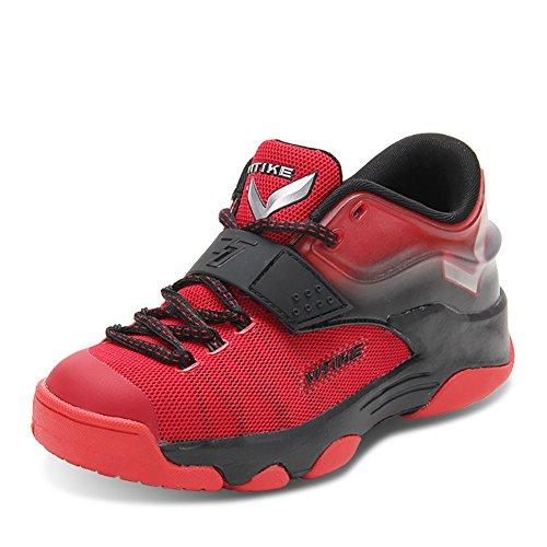 ASHION Sportschuhe der Kinder Jungen Frühling Gitter Breath Student Basketball-Schuhe Big Jungfrau Boy Laufschuhe (36 EU, Rot)