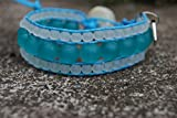 PowerofLove Design*Beadwork- sandgestrahlt- Glasperlen- Wickelarmband-Damen-Baumwolle-vegan-natürlich-weiß-blau-Handgemacht-Geschenkidee