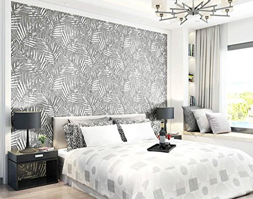 Kuamai Beflockung 3D-Geprägte Palm Tree Leaf Wallpaper Brown Rustikalen Chic Cottage Wand Papier Silber - Brown Palm Leaf