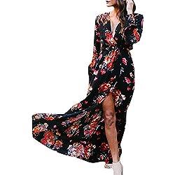 iBaste Mujer Larga Vestido Sexy Boho Cuello-V Vestidos de Playa Estampado Floral Cóctel Dress
