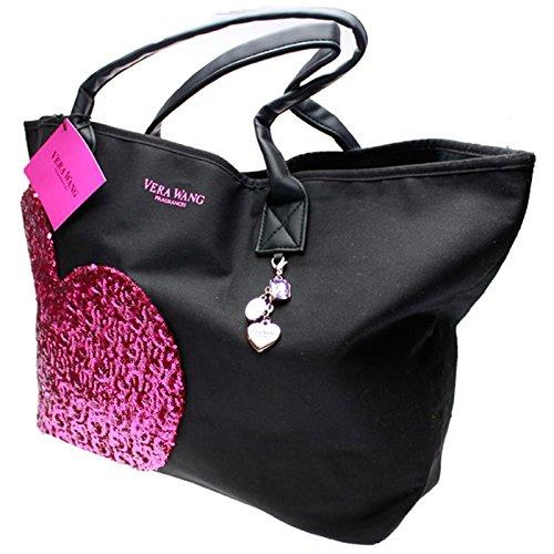 vera-wang-modische-shopping-bag-beach-bag-schwarz-lila-pailetten-applikation