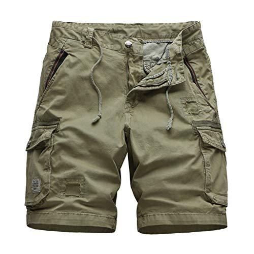 GreatestPAK Kühler Sommer Herren Baumwolle Camouflage Cargoshorts Lässig Kurze Hosen Multi-Pockets 1/2 Overalls,Khaki,EU:XL(Tag:38) -