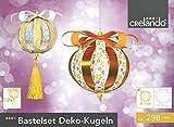 CRELANDO® Bastelset Deko-Kugeln klein Ø7cm, 298-teilig (gold / silber / weiß - Set 2)