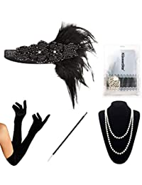 1920 Accessories Set - KQueenStar 1920s Flapper Costume Fancy Dress Gastby Accessories Vintage Feather Headband,