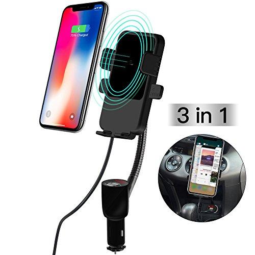 KFZ Halterung Ladegerät, 3 in 1 Qi Wireless Charging/Kabellos Laden+Auto Handyhalterung+2-Port USB Kfz Ladegerät,Zigarettenanzünder Auto Handy Halter für iPhone X 8 7 6S Plus 5S 5C SE, Samsung Galaxy S8 S7 Edge, LG HTC, GPS-Gerät Smartphone -Schwarz (Zigarettenanzünder-gps-halterung)